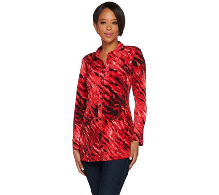 Susan Graver Printed Liquid Knit Button Front Tunic