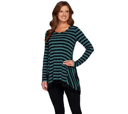 LOGO by Lori Goldstein Striped Knit Top with Hi-Low Lace Trim Hem