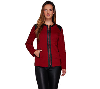 Susan Graver Milano Knit Zip Front Long Sleeve Jacket - A269298
