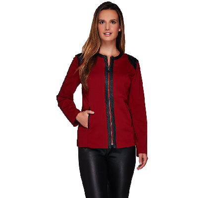 Susan Graver Milano Knit Zip Front Long Sleeve Jacket