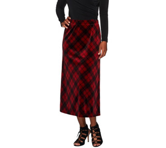 Susan Graver Printed Velvet Comfort Waist Pull-On Long Skirt - A270298