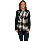 Denim & Co. Houndstooth Printed Fleece Button Front Big Shirt