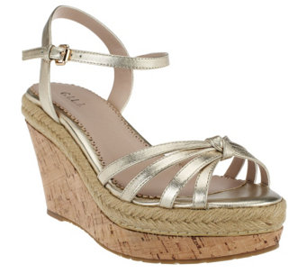 """As Is"" G.I.L.I. Leather Platform Wedge Sandals- Sunday - A271498"