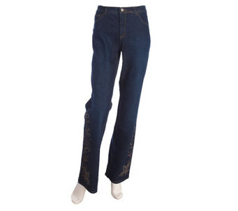"""As Is"" Grand Ole Opry Studded Fleur De Lis Boot Cut Jeans - A272098"