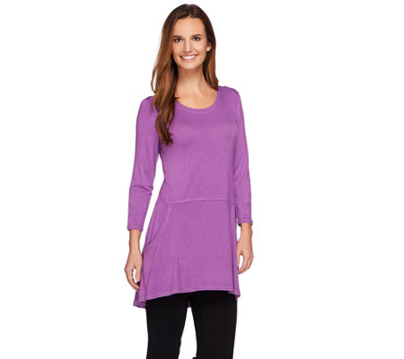 LOGO by Lori Goldstein Knit Peplum Top with Hi-Low Hem and Pockets