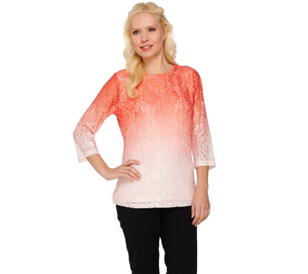 Isaac Mizrahi Live! Printed Ombre Lace 3/4 Sleeve Top