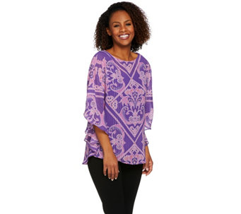 Bob Mackie's Printed Caftan Top and Knit Tank Set - A273598