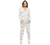Bethany Mota Zip Front Hooded Light Print Jumpsuit - A273798