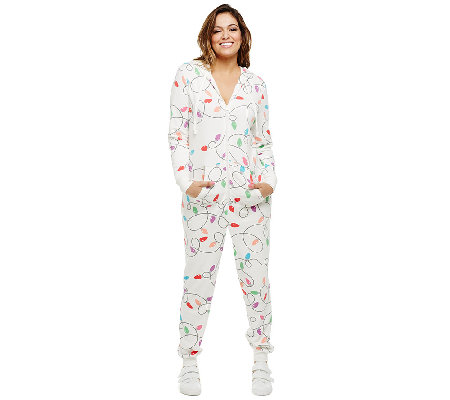 Bethany Mota Zip Front Hooded Light Print Jumpsuit