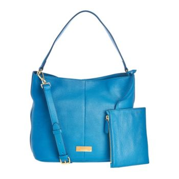 Isaac Mizrahi Live! Whitney Pebble Leather Hobo Handbag w/ Pouch