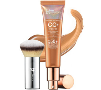 IT Cosmetics CC   Cream Physical SPF 50 Bronzer with Luxe Buki Brush - A274398