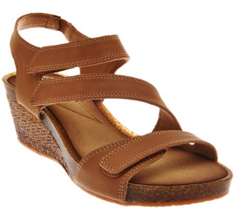 Clarks Leather Adjustable Three Strap Wedge Sandals - Hevely Ordo - A274798