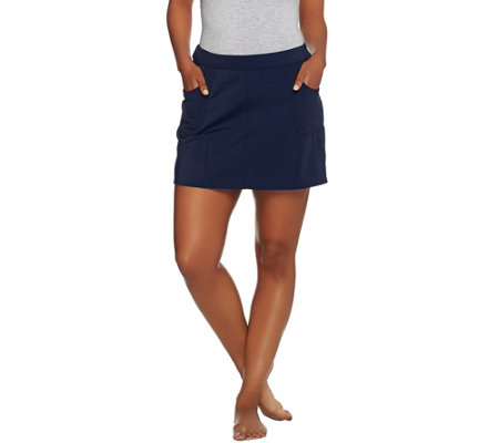 Denim & Co Beach Swim Skort with Pockets