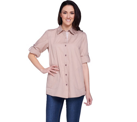 Joan Rivers 3/4 Sleeve Boyfriend Shirt with Gingham Accents