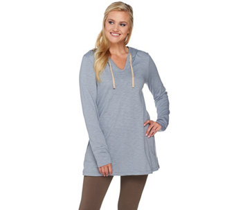 LOGO Lounge by Lori Goldstein Slub Knit Hoodie with Pockets - A275798