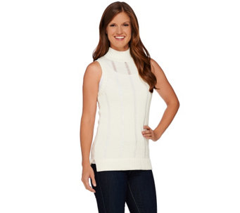 """As Is"" Whitney Port Pointelle Stitch Mock Neck Sleeveless Sweater - A277198"