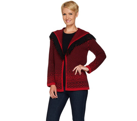Susan Graver Jacquard Sweater Cardigan with Fringe