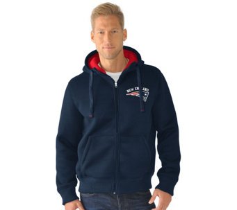 NFL Team Color Poly Knit with Sherpa Lining Zip Up Hoodie - A280698