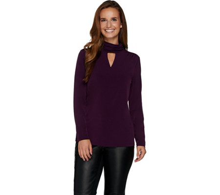 Susan Graver Liquid Knit Long Sleeve Turtleneck Top w/ Keyhole