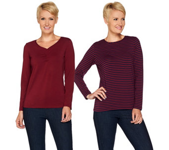 Susan Graver Weekend Stretch Cotton Modal Set of 2 Tops - A283098