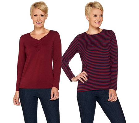 Susan Graver Weekend Stretch Cotton Modal Set of 2 Tops