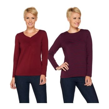 Susan Graver Weekend Stretch Cotton Modal Set of 2 Tops