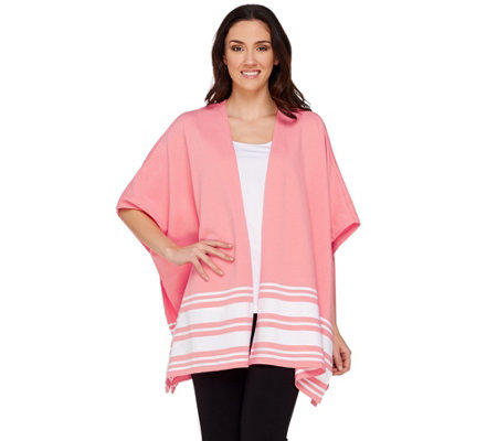 """As Is"" Denim & Co. Active Knit Poncho with Stripe Detail"