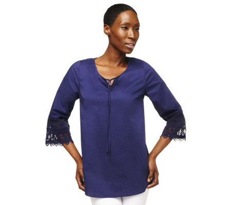 """As Is"" Isaac Mizrahi Live! Lace Cuff 3/4 Sleeve Tunic"