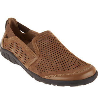 Earth Origins Suede Perforated Slip-on Shoes - Ryan - A289298