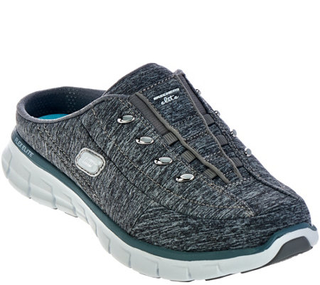 """As Is"" Skechers Heathered Jersey Bungee Mules-Synergy"