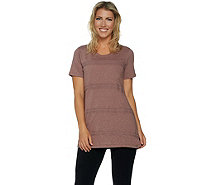 LOGO by Lori Goldstein Knit Top with Crochet Trim - A290498