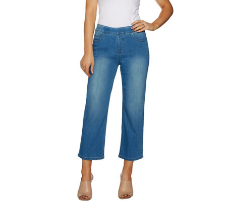 Women with Control Petite My Wonder Denim Wide Leg Crop Jeans