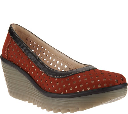 FLY London Leather Perforated Wedges - Yika