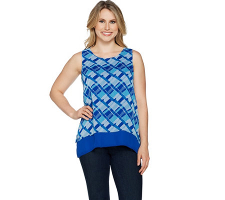 C. Wonder Sleeveless Woven Printed Chiffon Tiered Top