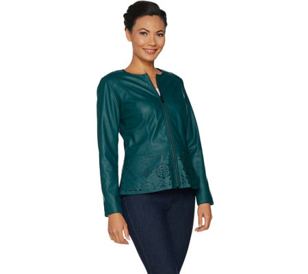 Belle by Kim Gravel Perforated Faux Leather Zip Front Jacket