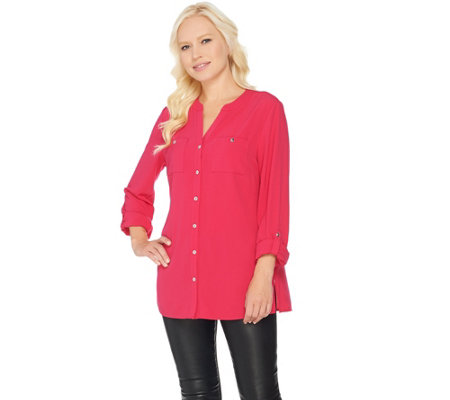 """As Is"" Susan Graver Stretch Woven Button Front Long Sleeve Shirt"