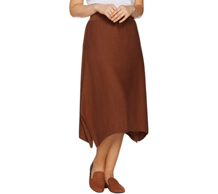 LOGO by Lori Goldstein Skirt with Handkerchief Hemline