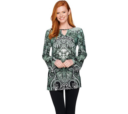 """As Is"" Attitudes by Renee Printed Jersey Knit Keyhole Tunic"