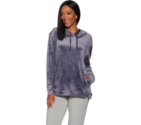AnyBody Loungewear Velour Hooded Sweatshirt