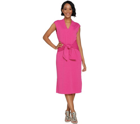 """As Is"" Isaac Mizrahi Live! Pebble Knit Tie Front Midi Dress"