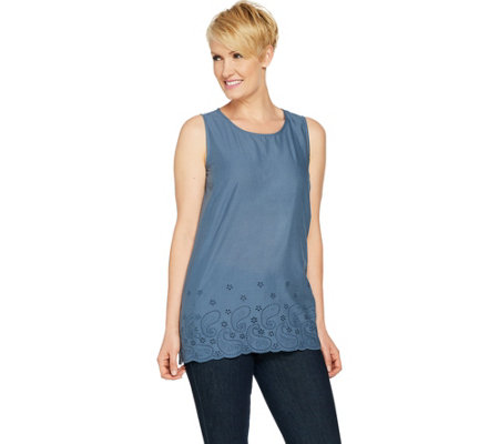 """As Is"" LOGO by Lori Goldstein Woven Tank with Eyelet Hem"