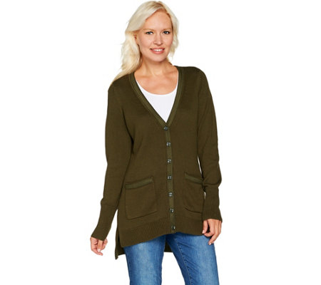 """As Is"" Isaac Mizrahi Live! V-Neck Tunic Cardigan with Grosgrain Det."