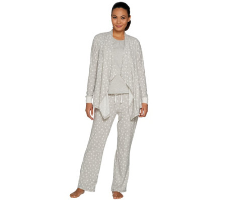 """As Is"" Carole Hochman Stretch Waffle Fleece 3-Piece Pajama Set"