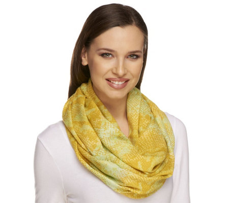 """As Is"" Isaac Mizrahi Live! 28"" x 66"" Colorful Snake Infinity Scarf"