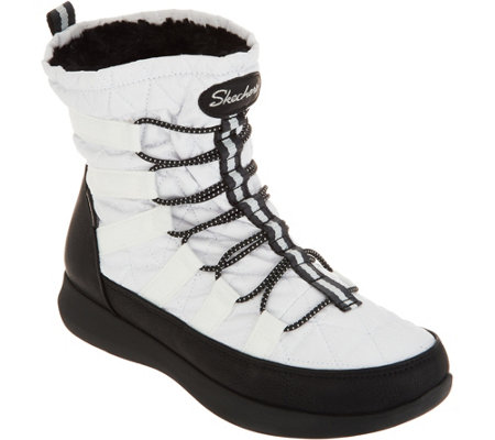 """As Is"" Skechers Waterproof Quilted Bungee Winter Boots"