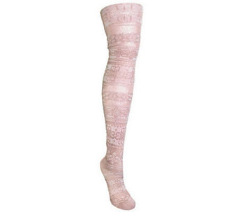 MUK LUKS Women's Patterned Microfiber Tights, S abrina Vanilla - A326598