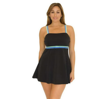 Fit 4 U Thighs Color-Block Bandeau Swim Dress