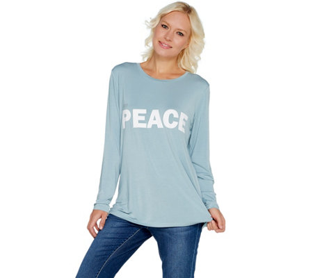 """As Is"" Peace Love World Doni Crew Neck Long Sleeve Tee"