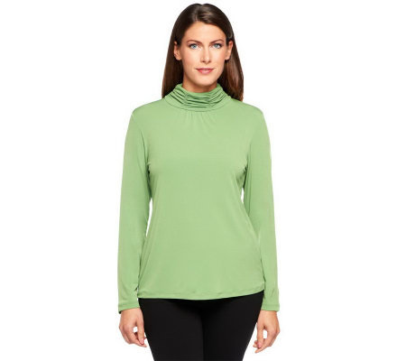 Susan Graver Essentials Liquid Knit Ruched Neck Long Sleeve Top