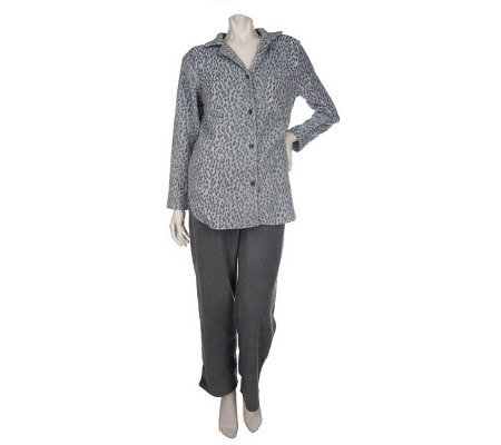 Stan Herman Leopard Print Fleece 2-pc. Pajama Set
